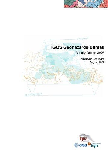 IGOS Geohazards Bureau - Data User Element - ESA