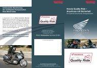 Honda Quality Ride - Motorrad Streifeneder