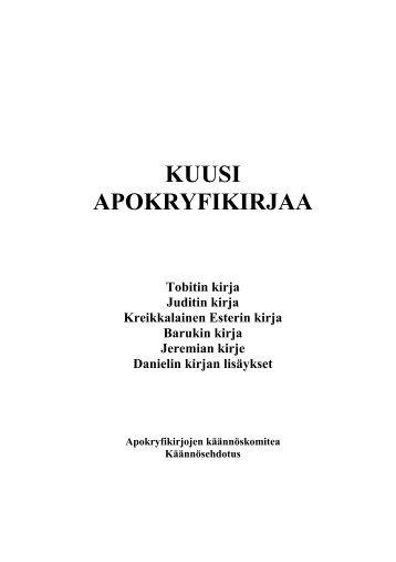 KUUSI APOKRYFIKIRJAA - Suomen evankelis-luterilainen kirkko