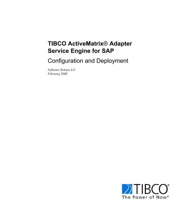 Adapter Service Engine for SAP - TIBCO Product Documentation