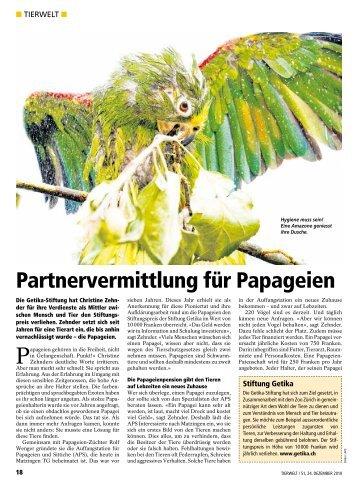 """Ganzer Artikel """"Partnervermittlung für Papageien"""" - Auffangstation ..."""