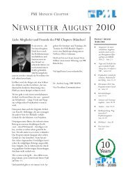 NEWSLETTER AuGuST 2010 - Project Management Institute ...