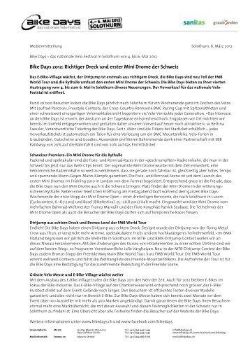 Bike Days 2012: Richtiger Dreck und erster Mini Drome der Schweiz