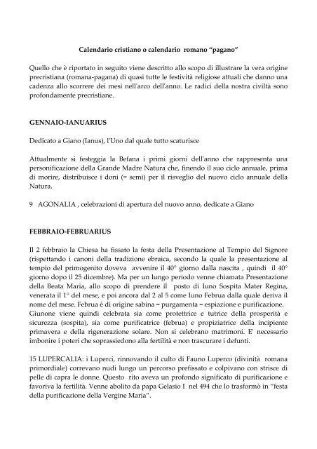 Il Calendario Romano.Calendario Cristiano O Calendario Romano Pagano Rosa