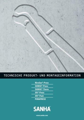 TECHNISCHE PRODUKT- UND MONTAGEINFORMATION - Sanha
