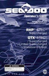 2004 SeaDoo RXP 4-TEC, GTX 4-TEC ... - SeaDoo Manuals