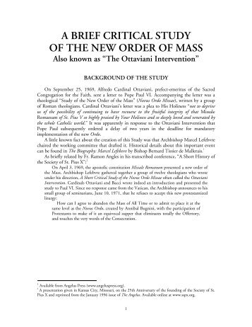 A Brief Critical Study of the Novus Ordo - Society of St. Pius X