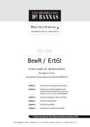 BewR / ErbSt - Steuerlehrgänge Dr. Bannas