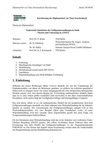 Inhalt 1. Einleitung - Beuth Hochschule für Technik Berlin