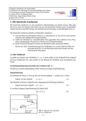 Grundgleichungen kinetische Theorie
