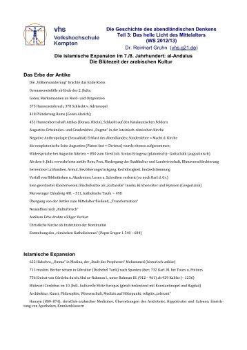 Islamische Expansion - Zfg. - VHS - Reinhart Gruhn