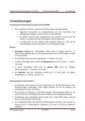 Transkriptionsregeln