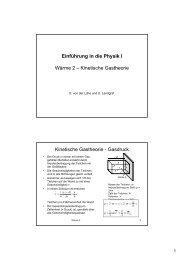 Einführung in die Physik I Wärme 2 – Kinetische Gastheorie ...
