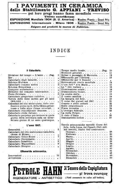Calendario 1906.Almanacco Italiano 1907 Indice Petites Ondes