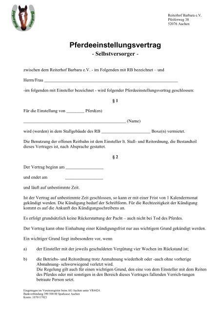 Pferdeeinstellungsvertrag Reiterhof Barbara