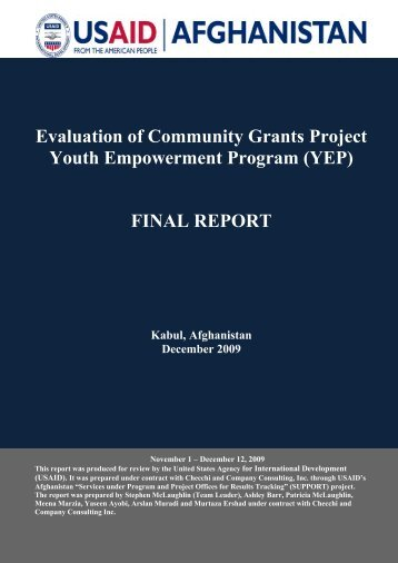 Evaluation of Community Grants Project Youth Empowerment Program