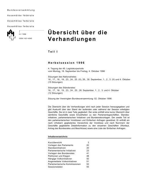 Uebersicht Herbstsession 1996 Schweizer Parlament