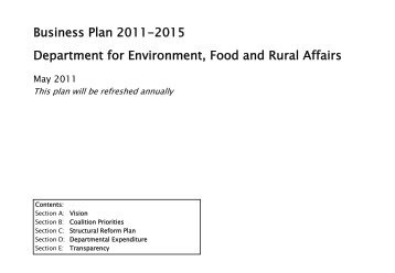 The DEFRA Business Plan 2011-2015 - 10 Downing Street