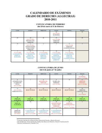 Calendario Examenes Derecho Us.Calendario Examenes Derecho Us