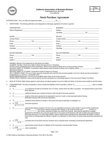 Purchase Agreement for Corporate Stock - Manhattan Biz