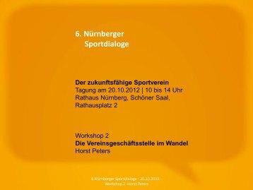 Workshop 2: Die Vereinsgeschaeftsstelle im Wandel - Horst Peters