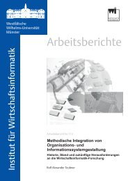 Arbeitsberichte - Institut für Wirtschaftsinformatik - Universität Münster