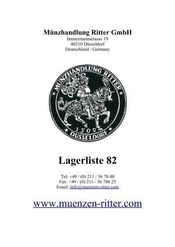 Lagerliste 82 www.muenzen-ritter.com - Münzhandlung Ritter GmbH