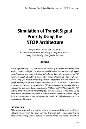 Simulation of Transit Signal Priority Using the NTCIP Architecture