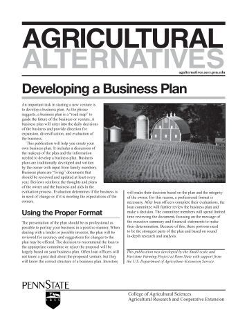 Business plan for agricultural products