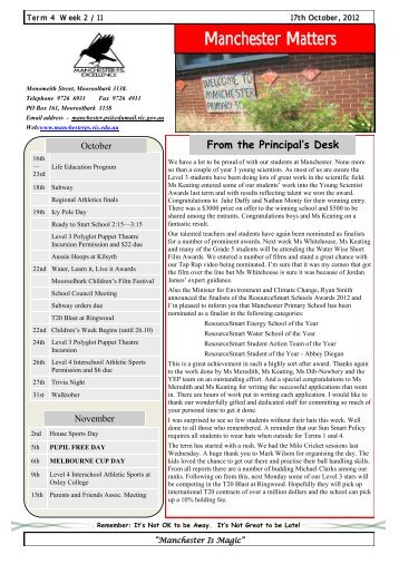 newsletter - Manchester Primary School