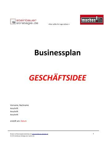 business plan kurz muster - Businessplan Muster