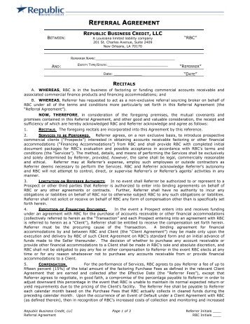 Referral Agreement This Agreement, Made This ______ Day