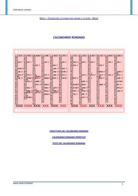 Calendario Romano.Calendario Romano Maat