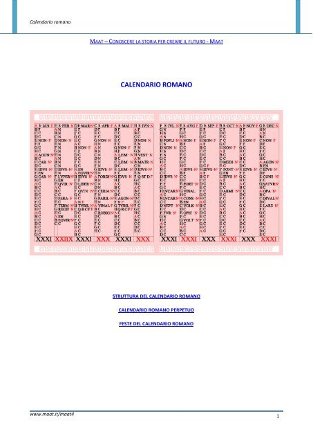 Il Calendario Romano.Calendario Romano Maat