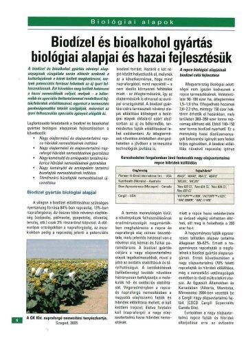 Biodízel és bioalkohol gyártás biológiai alapjai és hazai fejlesztésük