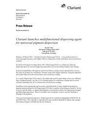 Press Release Clariant launches multifunctional dispersing agent ...