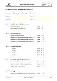 Kompetenznachweise Inhaltsverzeichnis «Kompetenznachweise»