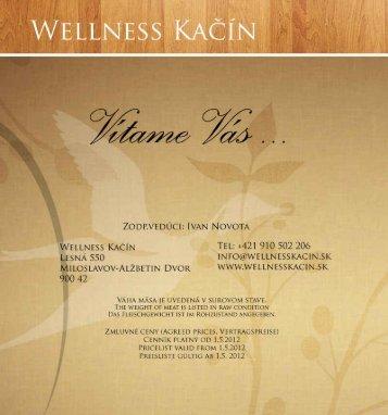 Jedálny lístok - Wellness Hotel Kačín