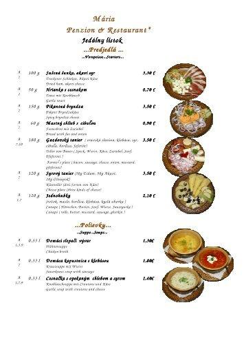Mária Penzion & Restaurant Restaurant Restaurant* Jedálny lístok ...