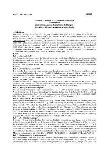 Anerkennung ausländischer Entscheidungen I Grundbegriffe und ...