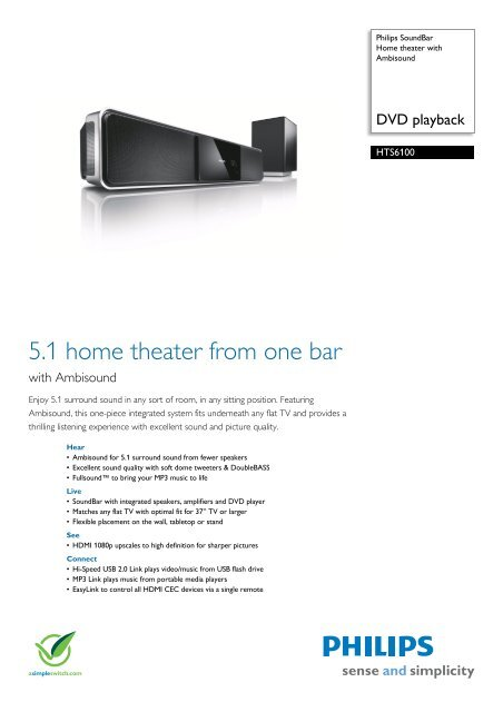 HTS6100/98 Philips Home theater with Ambisound
