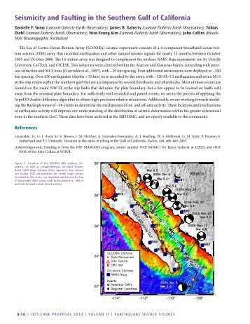 Seismicity and Faulting in the Southern gulf of California - IRIS