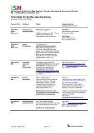 Checkliste für die Messevorbereitung - ISH 2013 - Messe Frankfurt
