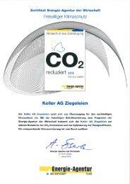 CO2-Zertifikat 2012 - Keller AG Ziegeleien
