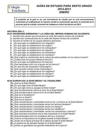 GUÍAS DE ESTUDIO PARA SEXTO GRADO 2012-2013 ENERO