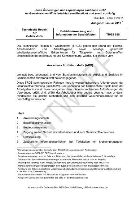 TRGS 555 Betriebsanweisung und Information der Beschäftigten