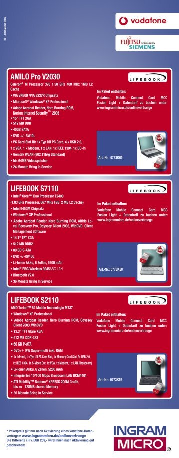 AMILO Pro V2030 LIFEBOOK S7110 LIFEBOOK S2110