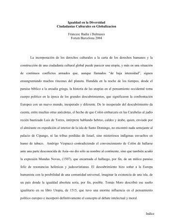 Francesc Badia i Dalmases: Igualdad en la diversidad