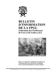BULLETIN D'INFORMATION DE LA FPGL Fédération des - Schule.at