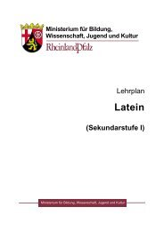 Lehrplan Latein Sekundarstufe I - Gymnasien in Rheinland-Pfalz